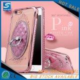 O cristal galvaniza a caixa do telefone de TPU para o sinal de adição de Huawei P9/P9 com a caixa do suporte do anel do Rhinestone