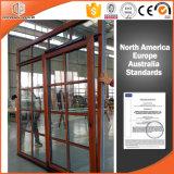 실내 오크재 클래딩 경사를 가진 최신 판매 열 틈 알루미늄 문 및 식민 바를 가진 미닫이 문