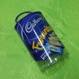Caixa do cilindro do PVC para petiscos com corda e impressão UV