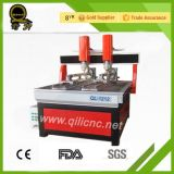 Máquinas de escavação de madeira CNC de eixo duplo com eixo rotativo Ql-1212