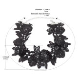 ハンドメイドのかぎ針編みの大きく黒い花の単純ステートメントのチョークバルブのネックレス
