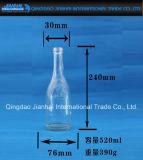 Frasco de vidro cilíndrico de cerveja da forma para o armazenamento do vinho