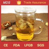 Borosilicate trois parties d'épaississement de cuvette de thé en verre avec le traitement