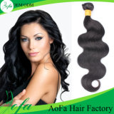 加工されていない卸し売り自然で黒いカラー1b# 100%年のバージンのブラジル人の毛