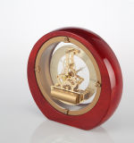 Horloge en bois de mantel de piano rond romain squelettique de cadran