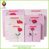 Bolsa de papel Promoción rosa de la moda con la manija de algodón