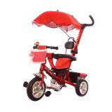Triciclo do bebê de três veículos com rodas com guarda-chuva