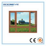 Guichet en aluminium de tissu pour rideaux de la plus défunte de modèle de Roomeye de double couleur en bois en verre Tempered