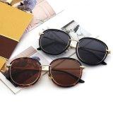 Da forma unisex das mulheres da forma óculos de sol retros do estilo do vintage com frame redondo do metal (6859)