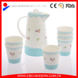 White elevado Bone China Ceramic Tea Pot e Mug Set