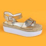 2017 повелительниц PU кожаный ЕВА плоских насосов золотистых единственных раскрывают сандалии пальца ноги