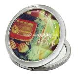 Grabada flor redonda de bronce del espejo cosmético para la venta