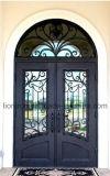 Tipo portas quentes das portas de entrada do travessão da segurança da decoração do ferro feito da venda
