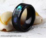 Anillo de dedo de cerámica fresco negro de la joyería de 14128 maneras para los hombres