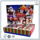 Weihnachtsmann druckte Papiergeschenk-Kasten mit innerer Einrichtung