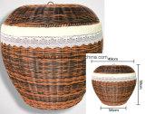 Panier de blanchisserie en osier de rotin en plastique de forme ronde