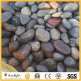 庭の舗装のためのつや出しされていなく自然な石造りの黒い川の小石