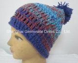 ポンポン(Hjb029)が付いている方法手の編む帽子