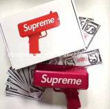 2017 últimos juguetes del arma del dinero del cañón del efectivo de la manera del precio de fábrica con el material plástico para el hogar de la oficina del banquete de boda