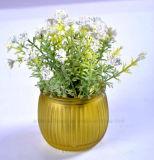 Искусственние различные цветки весны в стеклянной вазе для украшения дома/офиса/гостиницы