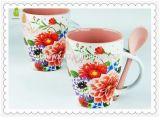 nueva taza de China de hueso 12oz con la impresión de la flor de la cuchara y de Rose