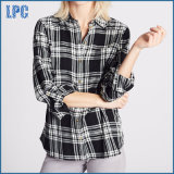 Algodão puro camisa longa verific da luva para mulheres