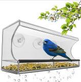 Alimentador de acrílico grande del pájaro de la ventana clara