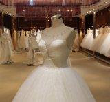 Vestido de casamento de perolização inchado barato branco superior do Neckline da venda