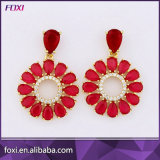 Pink Color Fashion Argent Plaqué AAA CZ Copper Chandelier Earring