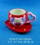 발렌타인 데이 훈장을%s 손으로 그리는 세라믹 커피 또는 차 찻잔과 접시