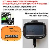 """새로운 공장 방수 IP65 ID 4.3 """" 기관자전차 자전거 차 GPS 항해자 붙박이 66 채널 GPS Recevier 의 주춤함 6.0, 800MHz Cortext-A7 CPU, 핸즈프리 Bluetooth, Tmc"""