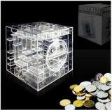 OEM transparente PP caja del ahorro de la caja de dinero con Laberinto Diseño