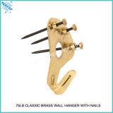 классицистической покрынная латунью вешалка стены 75lb с медным головным ногтем