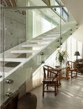 Diseño moderno L escalera flotante de Villar del pasamano de la escala de la dimensión de una variable del paso de progresión de cristal de madera sólida