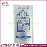 Luvas cirúrgicas livres do pó natural médico estéril do látex