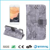 Caisse de téléphone de cuir de tissu de type de carte