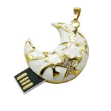 USB del metal del USB de la dimensión de una variable de la luna mini del disco cristalino de la memoria