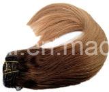 Clip en el conjunto completo de la pista de las extensiones del pelo humano hecho del pelo de la Virgen