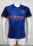 最上質の卸し売りニースの青いしまのある黒いサッカージャージー