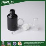 30ml 1oz黒いカラープラスチック精油のびんの明確な帽子の黒のプラスチックびんが付いている装飾的な空の点滴器のびん