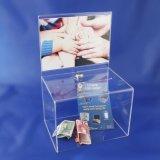 광고 프레임 & 자유로운 자물쇠를 가진 명확한 기부금 상자