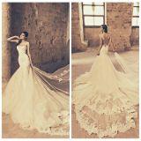 Vestido de casamento Backless Tb29 da catedral de Tulle do laço da sereia dos vestidos nupciais