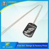 昇進のプリントロゴおよびネックレス(XF-DT06)が付いている卸し売り方法カスタムステンレス鋼の金属の軍の名前かPet/ID/Dogの札