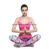 Medias corrientes impresas sujetador de la compresión de la gimnasia de la yoga de la aptitud de la escritura de la etiqueta privada para las mujeres
