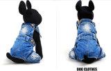 Calças clássicas das calças de brim do animal de estimação da qualidade dos macacões do cão