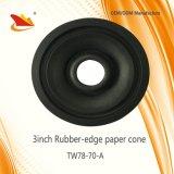 Muestra libre con un tamaño pequeño de 3 pulgadas de goma del borde del papel de cono de altavoz de cono de piezas
