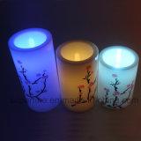 印刷されるを用いる屋内Flameless電池式の電子ポータブルLEDの柱の蝋燭