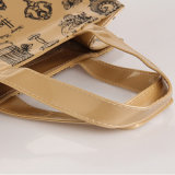 2 Tamaños impermeable de PVC cremallera del bolsillo de la PU del bolso de compras