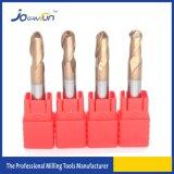 Dos herramienta de corte revestida de la nariz de la bola del carburo de tungsteno de las flautas HRC55 Tisin