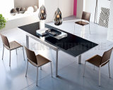 Küche-Möbel-ausgeglichenes Glas-Abendtisch-Edelstahl-Speisetisch eingestellt (NK-DTB001)